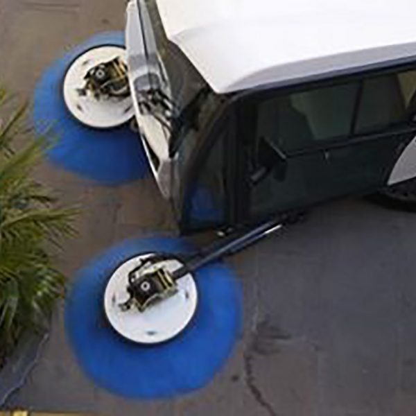 Pedestrian Sweeper Aerial Shot
